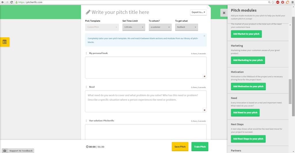 Screenshot, custom pitch empty
